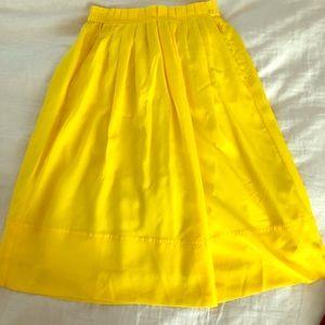 Jcrew yellow midi skirt